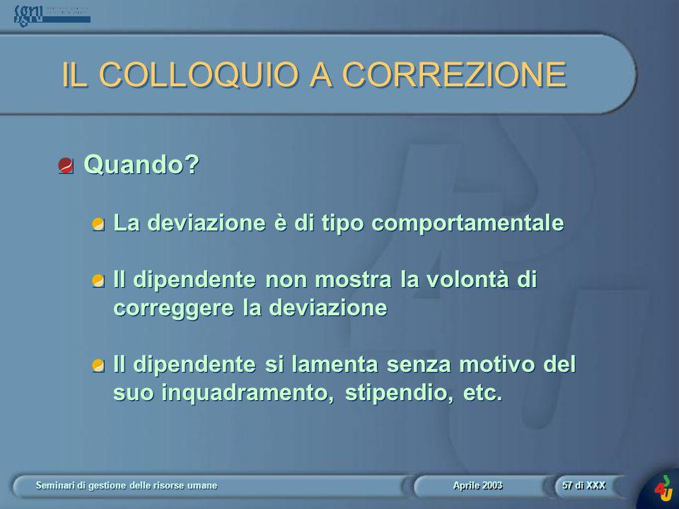 Aprile 2003 Seminari di gestione delle risorse umane57 di XXX IL COLLOQUIO A CORREZIONE Quando.