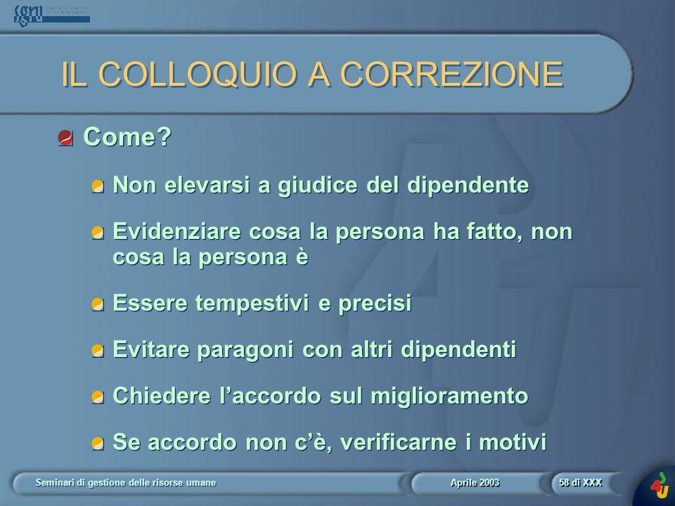 Aprile 2003 Seminari di gestione delle risorse umane58 di XXX IL COLLOQUIO A CORREZIONE Come.