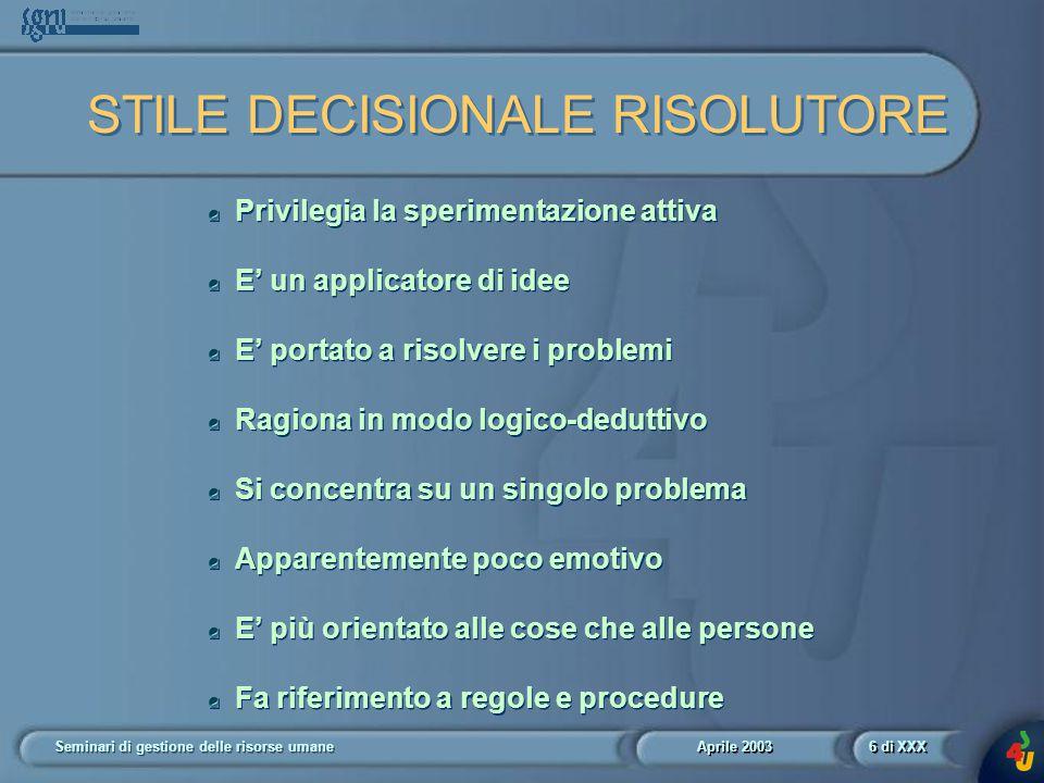 Aprile 2003 Seminari di gestione delle risorse umane37 di XXX Diagramma 12.