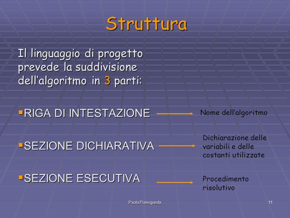 Paola Pianegonda11 Struttura Il linguaggio di progetto prevede la suddivisione dell'algoritmo in 3 parti:  RIGA DI INTESTAZIONE  SEZIONE DICHIARATIVA  SEZIONE ESECUTIVA Nome dell'algoritmo Dichiarazione delle variabili e delle costanti utilizzate Procedimento risolutivo