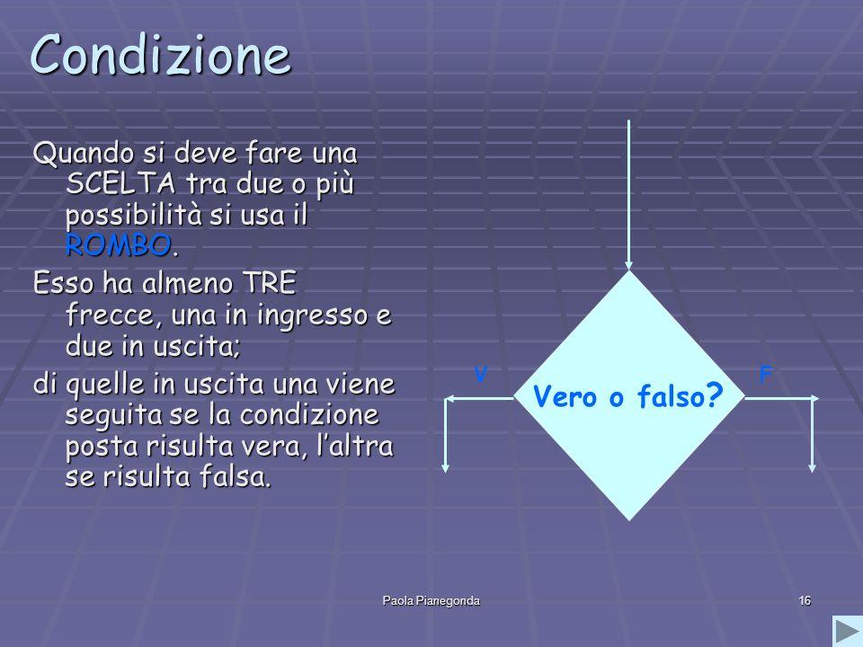 Paola Pianegonda16 Condizione Quando si deve fare una SCELTA tra due o più possibilità si usa il ROMBO.