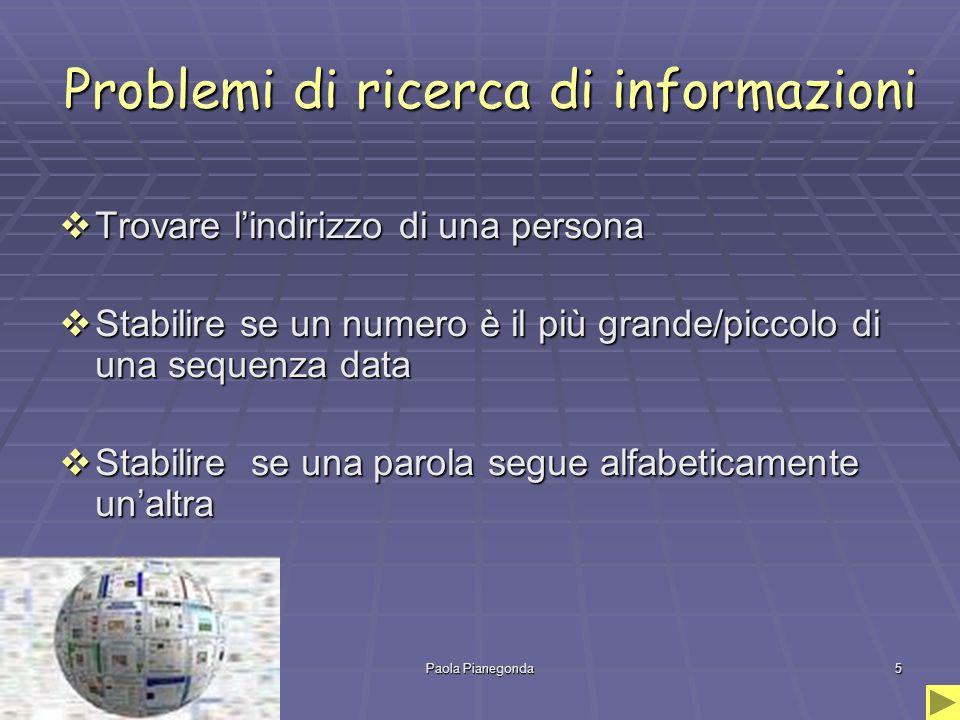 Paola Pianegonda5 Problemi di ricerca di informazioni  Trovare l'indirizzo di una persona  Stabilire se un numero è il più grande/piccolo di una sequenza data  Stabilire se una parola segue alfabeticamente un'altra