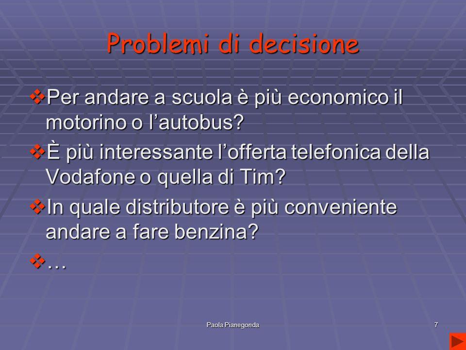 Paola Pianegonda7 Problemi di decisione  Per andare a scuola è più economico il motorino o l'autobus.