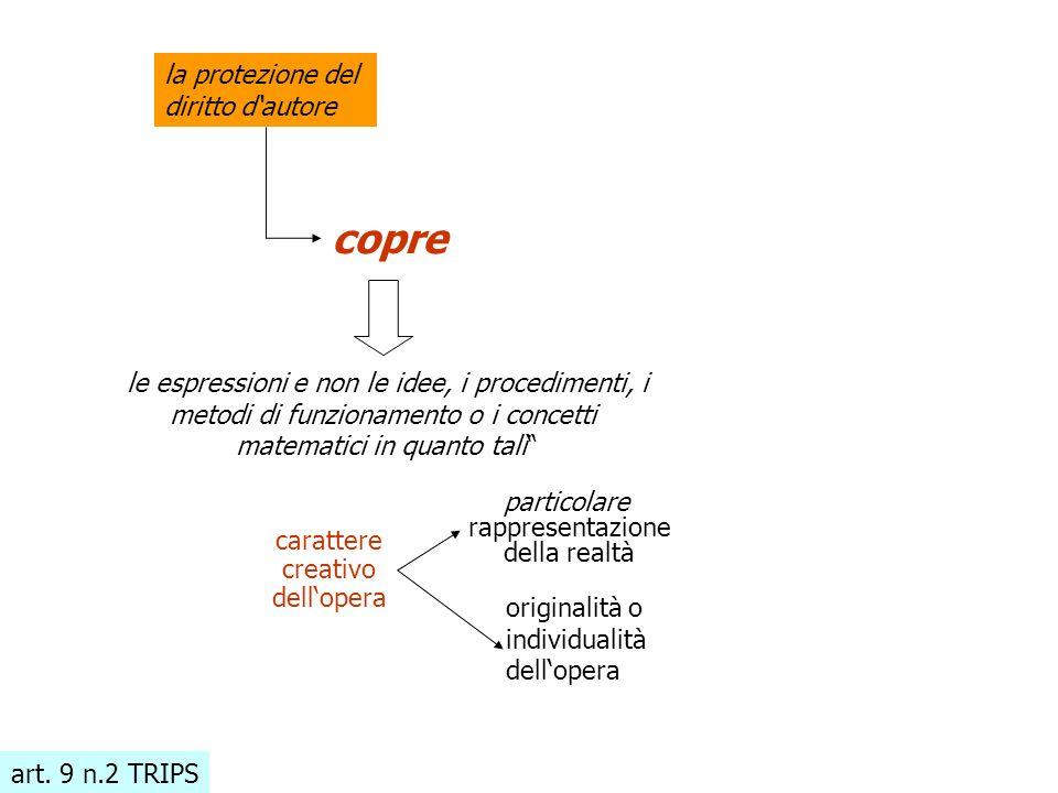 art. 9 n.2 TRIPS la protezione del diritto d'autore copre le espressioni e non le idee, i procedimenti, i metodi di funzionamento o i concetti matemat