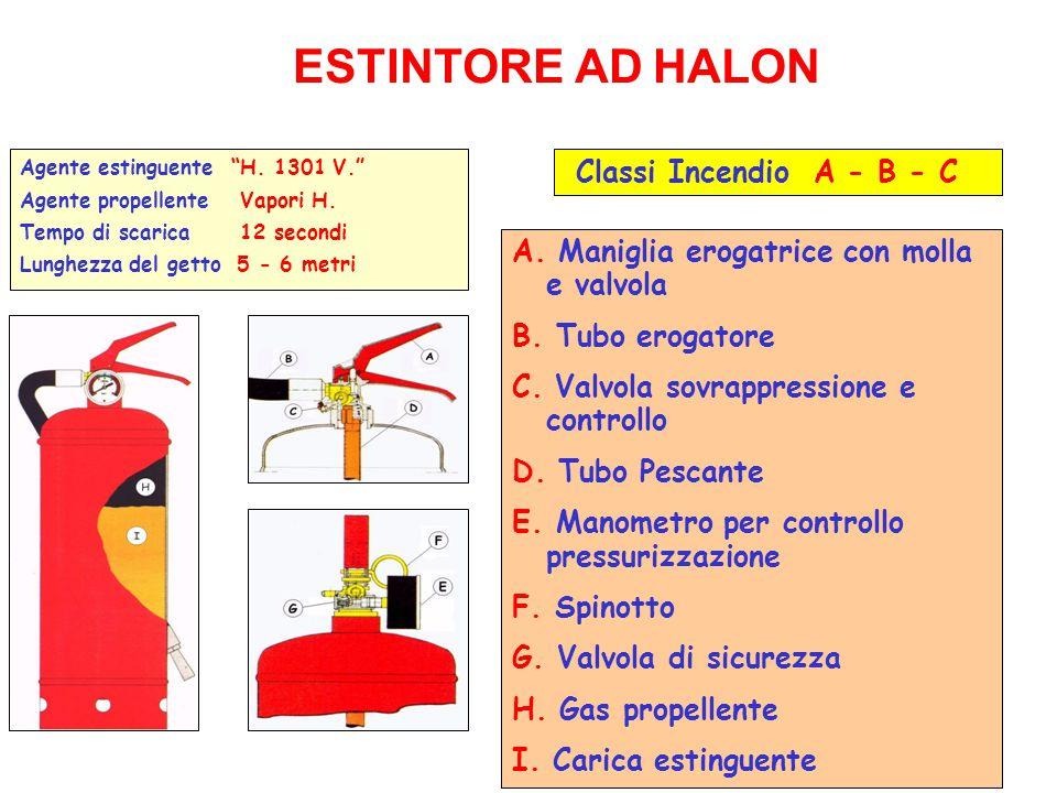 """32 Agente estinguente""""H. 1301 V."""" Agente propellente Vapori H. Tempo di scarica 12 secondi Lunghezza del getto 5 - 6 metri ESTINTORE AD HALON A. Manig"""