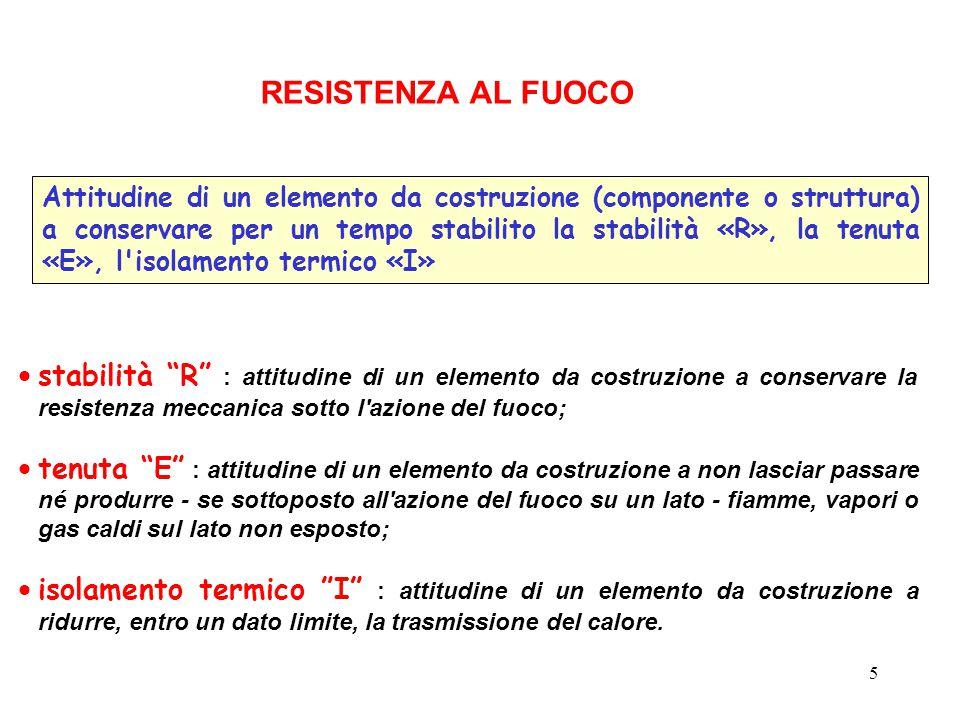 """5  stabilità """"R"""" : attitudine di un elemento da costruzione a conservare la resistenza meccanica sotto l'azione del fuoco;  tenuta """"E"""" : attitudine"""