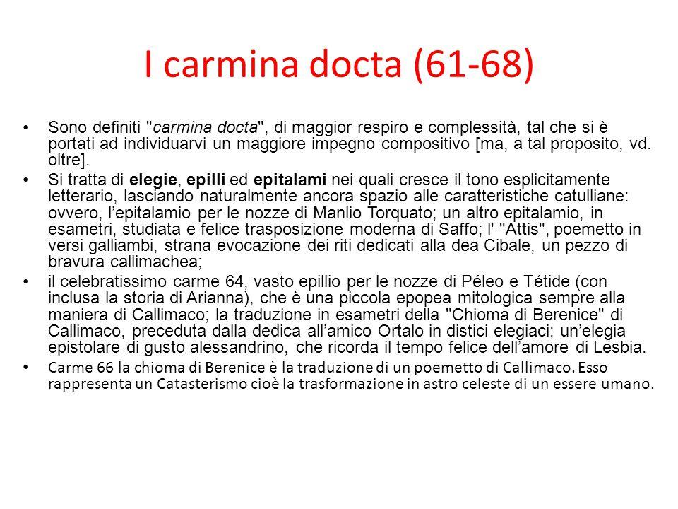 I carmina docta (61-68) Sono definiti