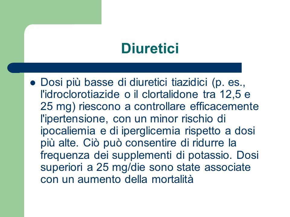Diuretici Dosi più basse di diuretici tiazidici (p. es., l'idroclorotiazide o il clortalidone tra 12,5 e 25 mg) riescono a controllare efficacemente l