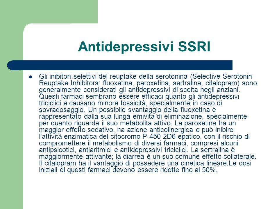 Antidepressivi SSRI Gli inibitori selettivi del reuptake della serotonina (Selective Serotonin Reuptake Inhibitors: fluoxetina, paroxetina, sertralina, citalopram) sono generalmente considerati gli antidepressivi di scelta negli anziani.
