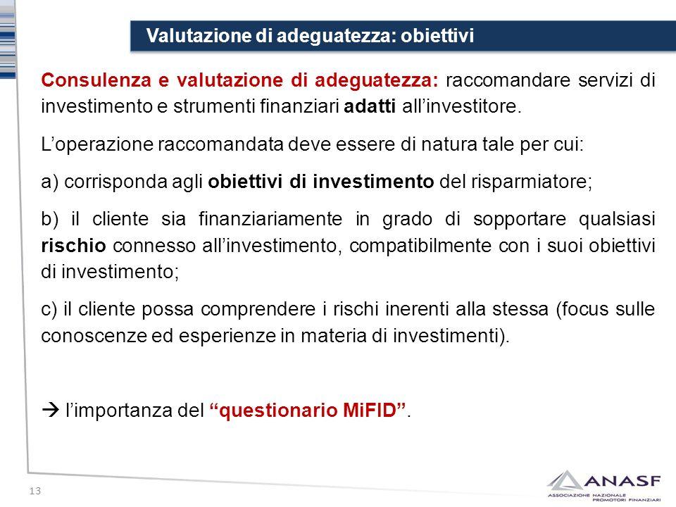 Valutazione di adeguatezza: obiettivi 13 Consulenza e valutazione di adeguatezza: raccomandare servizi di investimento e strumenti finanziari adatti a