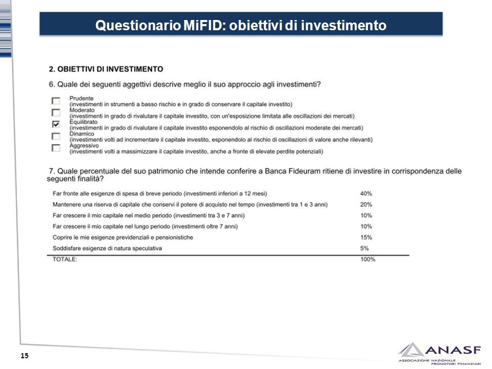 Questionario MiFID: obiettivi di investimento 15