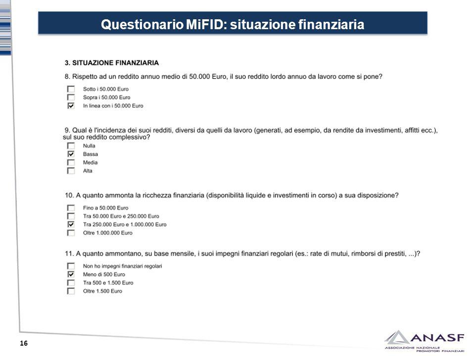 Questionario MiFID: situazione finanziaria 16