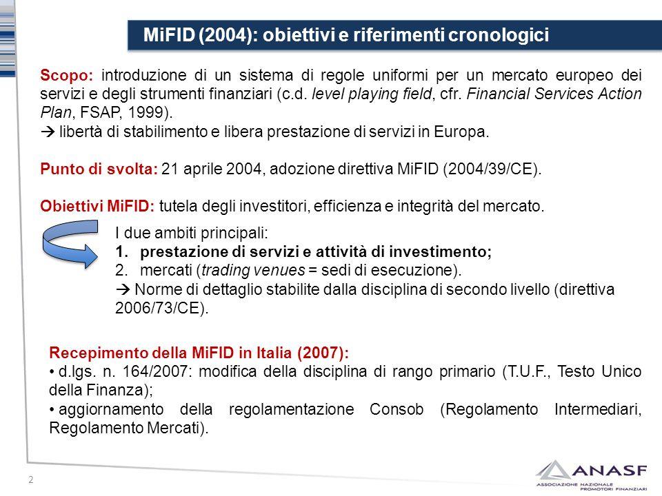 MiFID (2004): obiettivi e riferimenti cronologici 2 Scopo: introduzione di un sistema di regole uniformi per un mercato europeo dei servizi e degli st