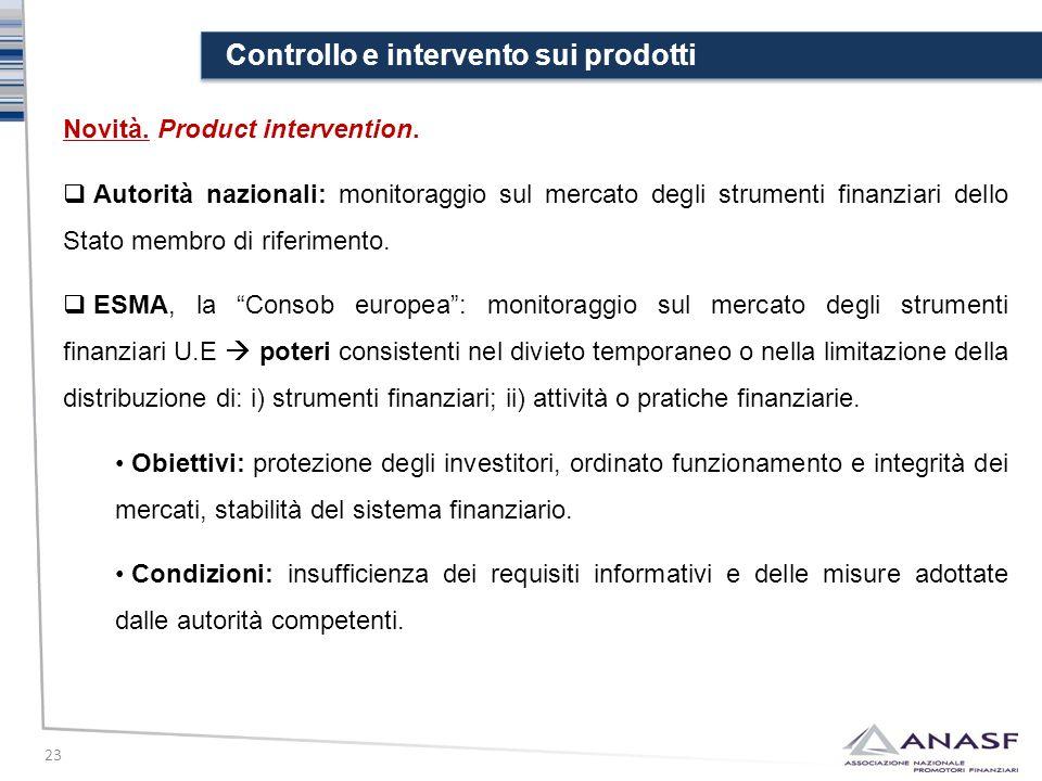 Controllo e intervento sui prodotti 23 Novità. Product intervention.  Autorità nazionali: monitoraggio sul mercato degli strumenti finanziari dello S