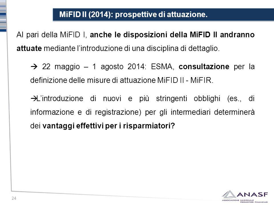 MiFID II (2014): prospettive di attuazione. 24 Al pari della MiFID I, anche le disposizioni della MiFID II andranno attuate mediante l'introduzione di