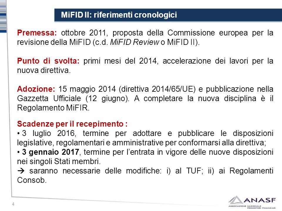 MiFID II: riferimenti cronologici 4 Premessa: ottobre 2011, proposta della Commissione europea per la revisione della MiFID (c.d. MiFID Review o MiFID