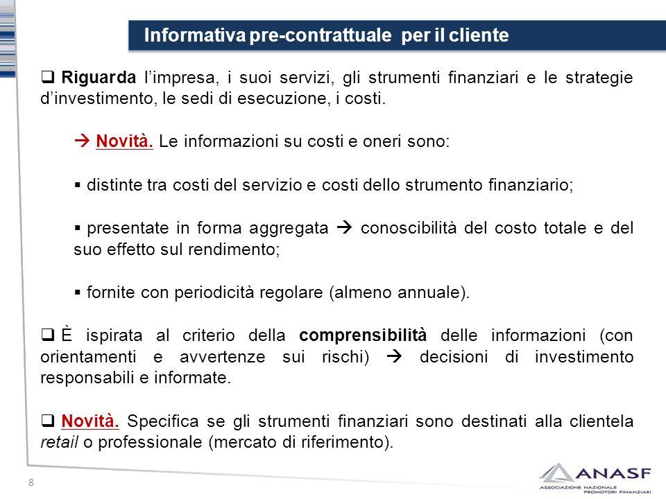 Informativa pre-contrattuale per il cliente 8  Riguarda l'impresa, i suoi servizi, gli strumenti finanziari e le strategie d'investimento, le sedi di