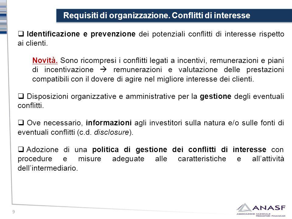 Requisiti di organizzazione. Conflitti di interesse 9  Identificazione e prevenzione dei potenziali conflitti di interesse rispetto ai clienti. Novit