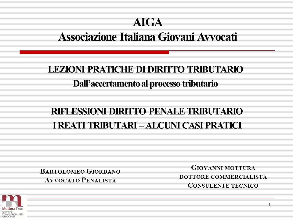 LEZIONI PRATICHE DI DIRITTO TRIBUTARIO Dall'accertamento al processo tributario AIGA Associazione Italiana Giovani Avvocati 1 RIFLESSIONI DIRITTO PENA