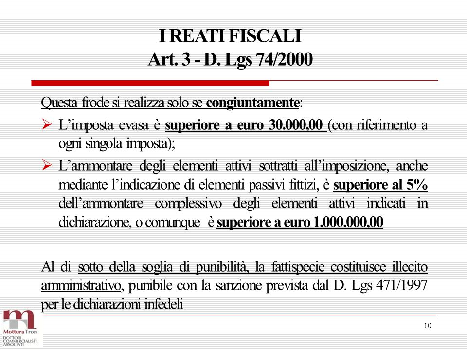 I REATI FISCALI Art. 3 - D. Lgs 74/2000 10 Questa frode si realizza solo se congiuntamente:  L'imposta evasa è superiore a euro 30.000,00 (con riferi