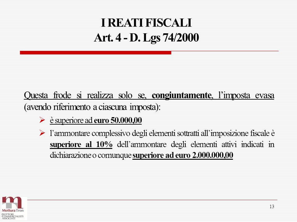 I REATI FISCALI Art. 4 - D. Lgs 74/2000 13 Questa frode si realizza solo se, congiuntamente, l'imposta evasa (avendo riferimento a ciascuna imposta):
