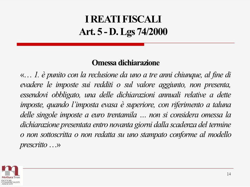 I REATI FISCALI Art. 5 - D. Lgs 74/2000 14 Omessa dichiarazione «… 1. è punito con la reclusione da uno a tre anni chiunque, al fine di evadere le imp
