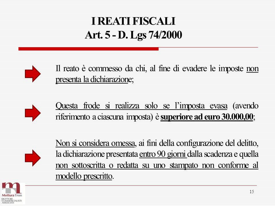 I REATI FISCALI Art. 5 - D. Lgs 74/2000 15 Il reato è commesso da chi, al fine di evadere le imposte non presenta la dichiarazione; Questa frode si re