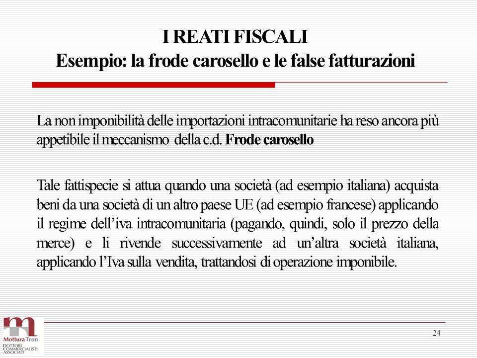 I REATI FISCALI Esempio: la frode carosello e le false fatturazioni 24 La non imponibilità delle importazioni intracomunitarie ha reso ancora più appe