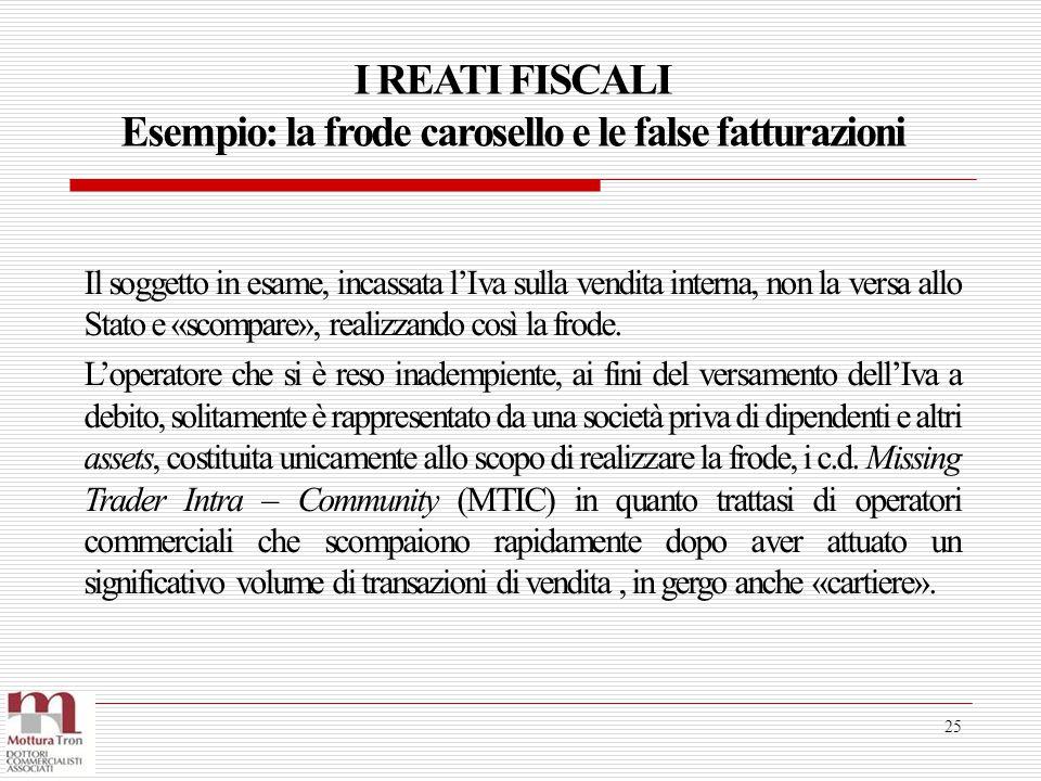 I REATI FISCALI Esempio: la frode carosello e le false fatturazioni 25 Il soggetto in esame, incassata l'Iva sulla vendita interna, non la versa allo