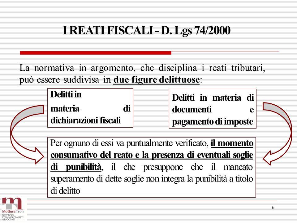I REATI FISCALI Art.8 - D.