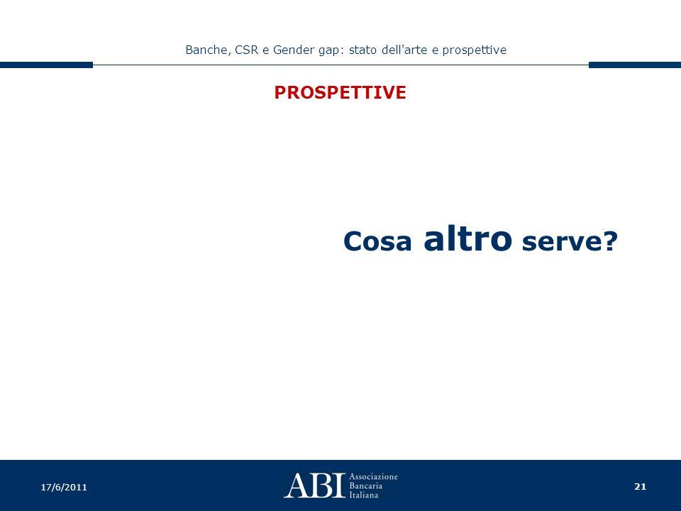 21 Banche, CSR e Gender gap: stato dell arte e prospettive 17/6/2011 PROSPETTIVE Cosa altro serve