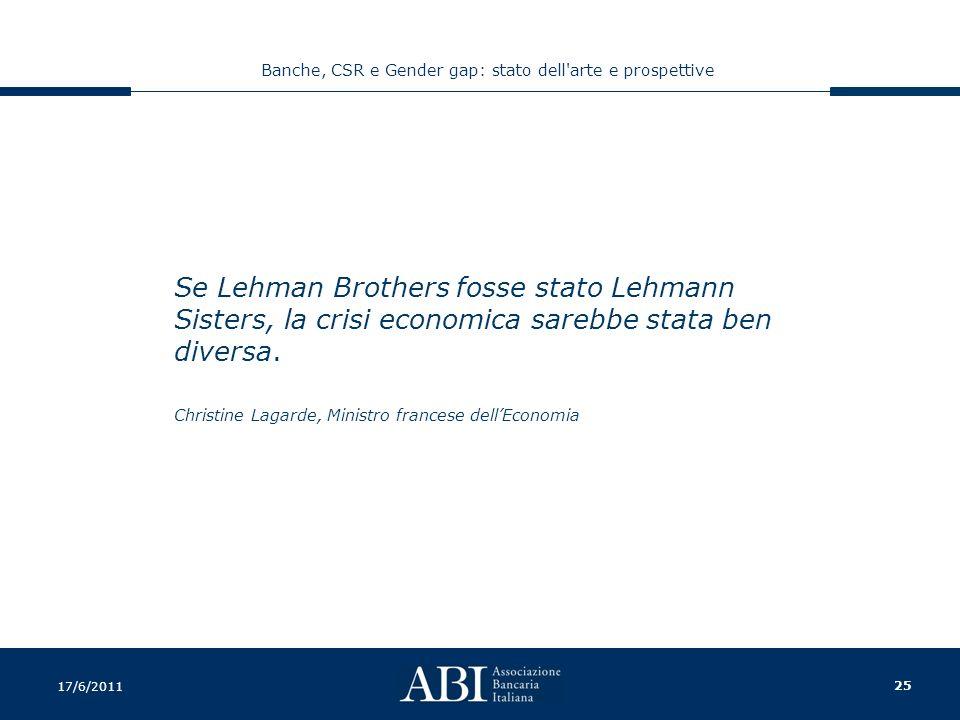 25 Banche, CSR e Gender gap: stato dell arte e prospettive 17/6/2011 Se Lehman Brothers fosse stato Lehmann Sisters, la crisi economica sarebbe stata ben diversa.