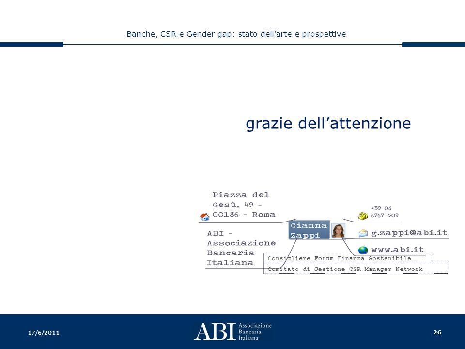 26 Banche, CSR e Gender gap: stato dell arte e prospettive 17/6/2011 Consigliere Forum Finanza Sostenibile Comitato di Gestione CSR Manager Network grazie dell'attenzione
