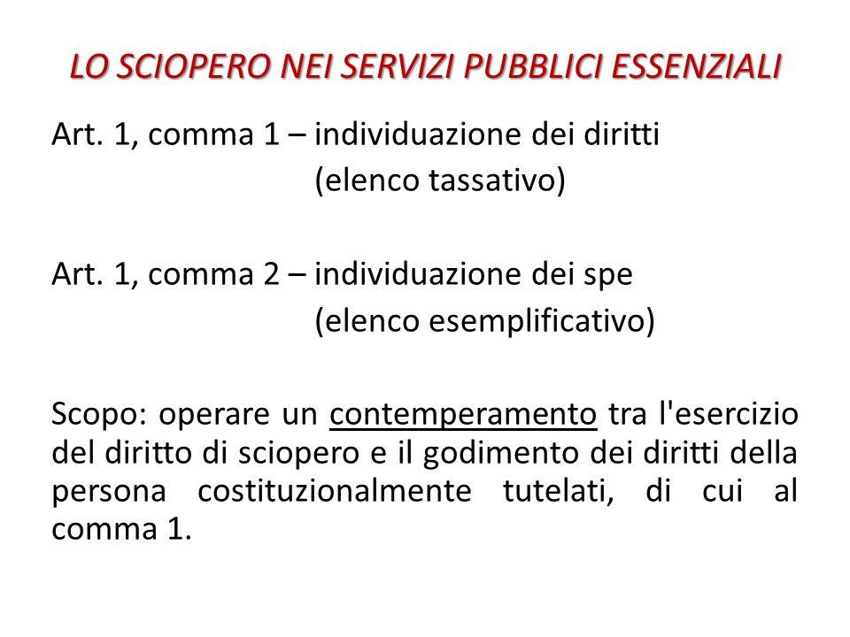 LO SCIOPERO NEI SERVIZI PUBBLICI ESSENZIALI Art. 1, comma 1 – individuazione dei diritti (elenco tassativo) Art. 1, comma 2 – individuazione dei spe (