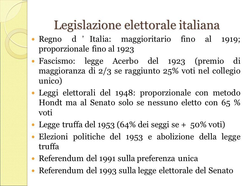 Legislazione elettorale italiana Regno d'Italia: maggioritario fino al 1919; proporzionale fino al 1923 Fascismo: legge Acerbo del 1923 (premio di maggioranza di 2/3 se raggiunto 25% voti nel collegio unico) Leggi elettorali del 1948: proporzionale con metodo Hondt ma al Senato solo se nessuno eletto con 65 % voti Legge truffa del 1953 (64% dei seggi se + 50% voti) Elezioni politiche del 1953 e abolizione della legge truffa Referendum del 1991 sulla preferenza unica Referendum del 1993 sulla legge elettorale del Senato