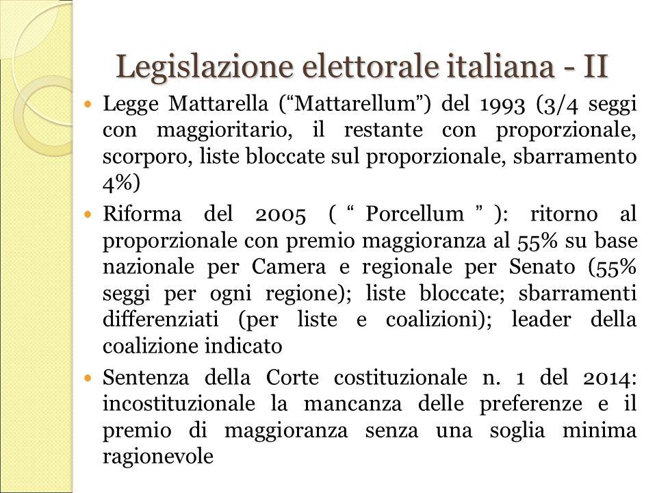Legislazione elettorale italiana - II Legge Mattarella ( Mattarellum ) del 1993 (3/4 seggi con maggioritario, il restante con proporzionale, scorporo, liste bloccate sul proporzionale, sbarramento 4%) Riforma del 2005 ( Porcellum ): ritorno al proporzionale con premio maggioranza al 55% su base nazionale per Camera e regionale per Senato (55% seggi per ogni regione); liste bloccate; sbarramenti differenziati (per liste e coalizioni); leader della coalizione indicato Sentenza della Corte costituzionale n.