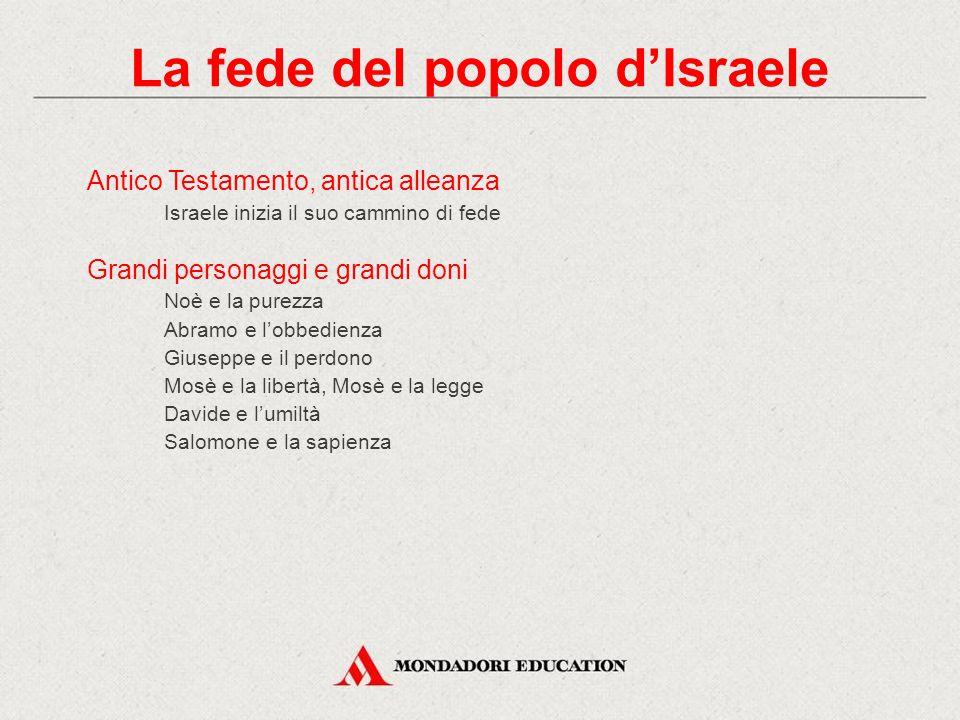 Antico Testamento, antica alleanza Israele inizia il suo cammino di fede Grandi personaggi e grandi doni Noè e la purezza Abramo e l'obbedienza Giusep