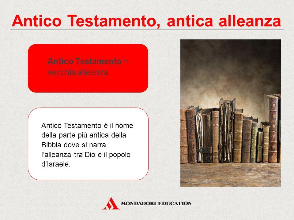 Antico Testamento, antica alleanza Antico Testamento = vecchia alleanza Antico Testamento è il nome della parte più antica della Bibbia dove si narra