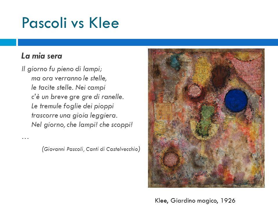 Pascoli vs Klee La mia sera Il giorno fu pieno di lampi; ma ora verranno le stelle, le tacite stelle. Nei campi c'è un breve gre gre di ranelle. Le tr