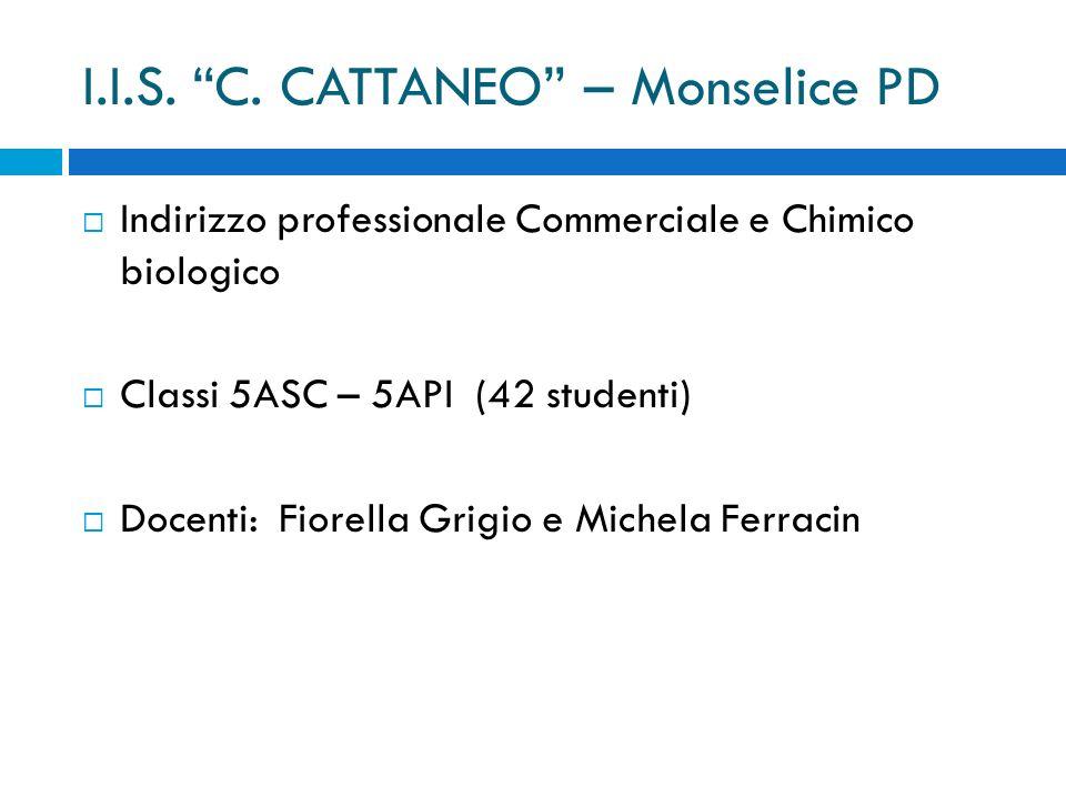 """I.I.S. """"C. CATTANEO"""" – Monselice PD  Indirizzo professionale Commerciale e Chimico biologico  Classi 5ASC – 5API (42 studenti)  Docenti: Fiorella G"""