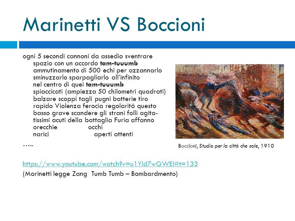 Marinetti VS Boccioni ogni 5 secondi cannoni da assedio sventrare spazio con un accordo tam-tuuumb ammutinamento di 500 echi per azzannarlo sminuzzarl