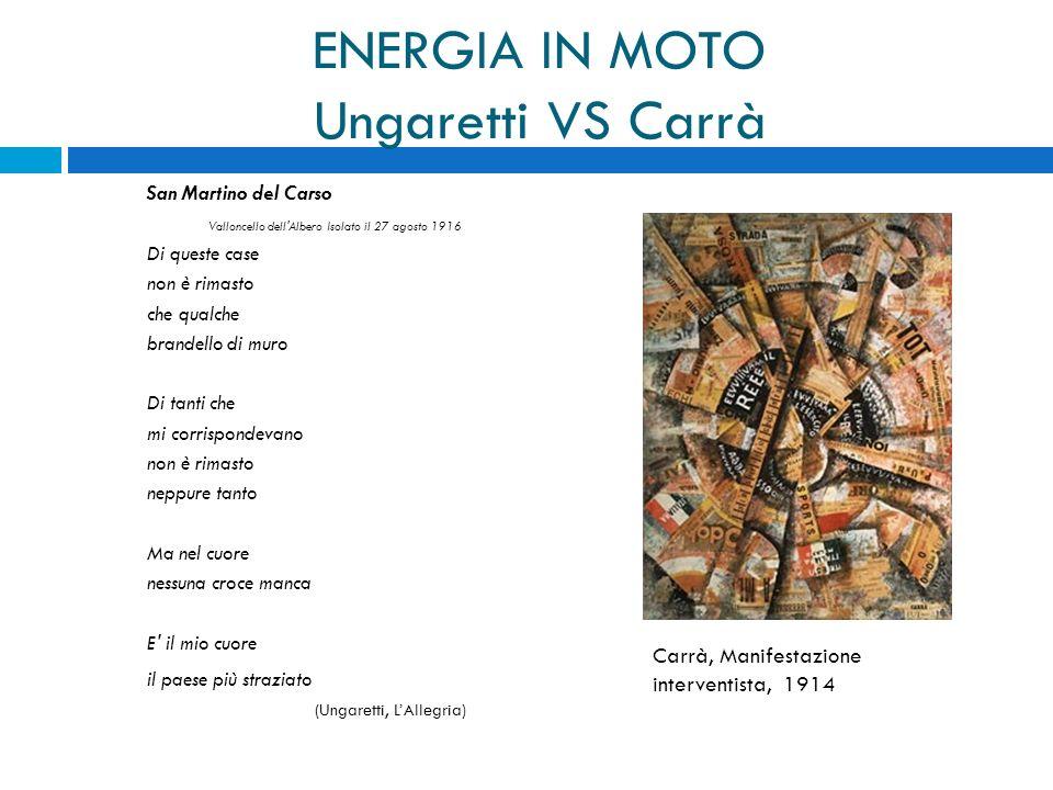 ENERGIA IN MOTO Ungaretti VS Carrà San Martino del Carso Valloncello dell'Albero Isolato il 27 agosto 1916 Di queste case non è rimasto che qualche br