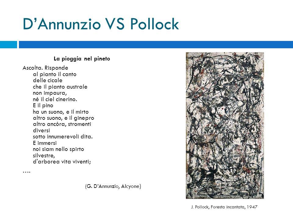 D'Annunzio VS Pollock La pioggia nel pineto Ascolta. Risponde al pianto il canto delle cicale che il pianto australe non impaura, nè il ciel cinerino.