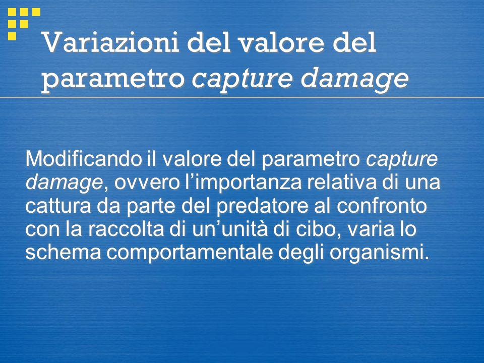 Variazioni del valore del parametro capture damage Modificando il valore del parametro capture damage, ovvero l'importanza relativa di una cattura da parte del predatore al confronto con la raccolta di un'unità di cibo, varia lo schema comportamentale degli organismi.