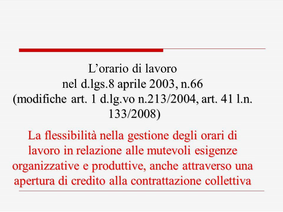 L'orario di lavoro d.lgs.8 aprile 2003, n.66 nel d.lgs.8 aprile 2003, n.66 (modifiche art. 1 d.lg.vo n.213/2004, art. 41 l.n. 133/2008) 133/2008) La f