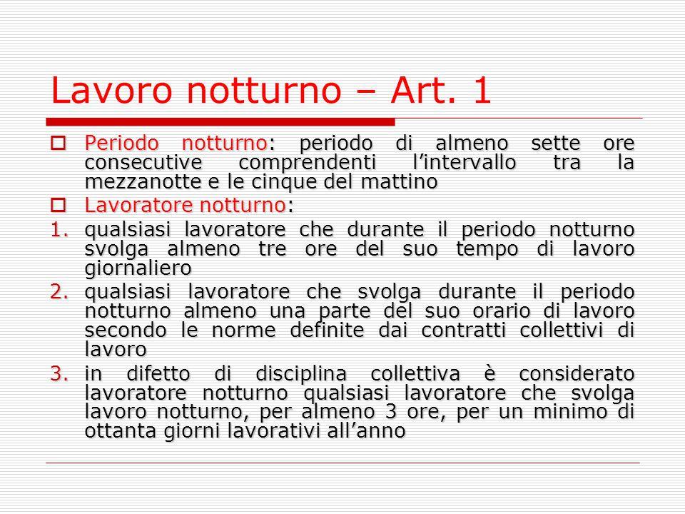 Lavoro notturno – Art. 1  Periodo notturno: periodo di almeno sette ore consecutive comprendenti l'intervallo tra la mezzanotte e le cinque del matti
