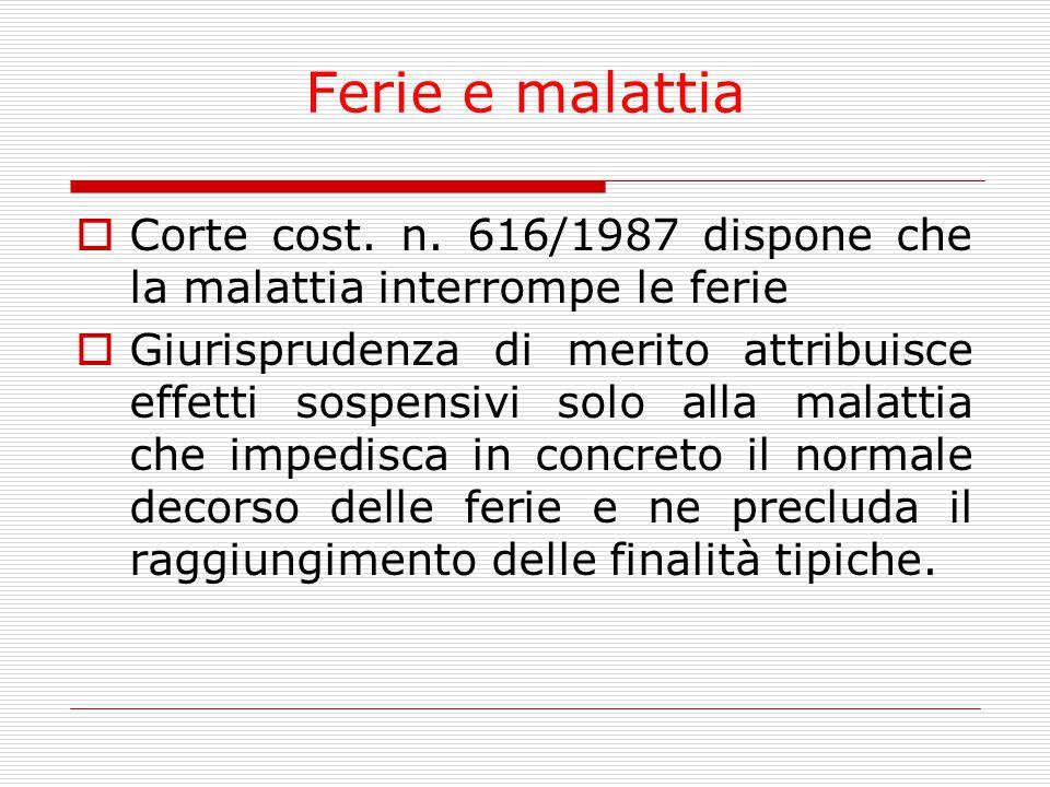 Ferie e malattia  Corte cost. n. 616/1987 dispone che la malattia interrompe le ferie  Giurisprudenza di merito attribuisce effetti sospensivi solo