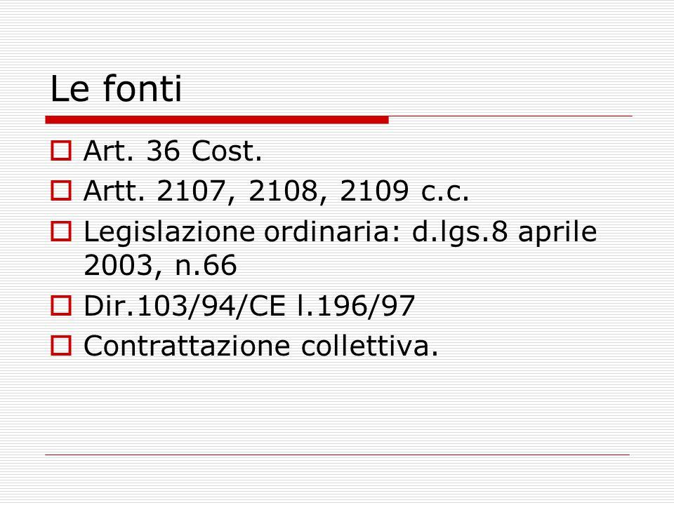Le fonti  Art. 36 Cost.  Artt. 2107, 2108, 2109 c.c.  Legislazione ordinaria: d.lgs.8 aprile 2003, n.66  Dir.103/94/CE l.196/97  Contrattazione c