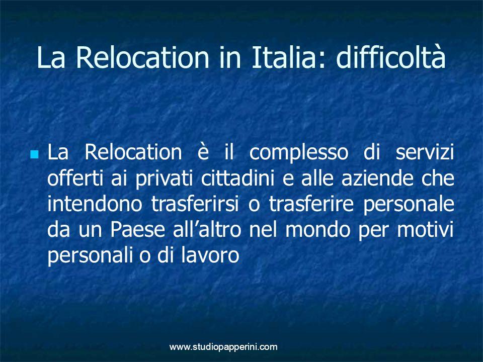 www.studiopapperini.com La Relocation in Italia: difficoltà La Relocation è il complesso di servizi offerti ai privati cittadini e alle aziende che in