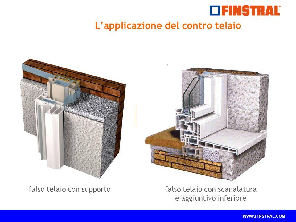 WWW.FINSTRAL.COM falso telaio con supportofalso telaio con scanalatura e aggiuntivo inferiore L'applicazione del contro telaio
